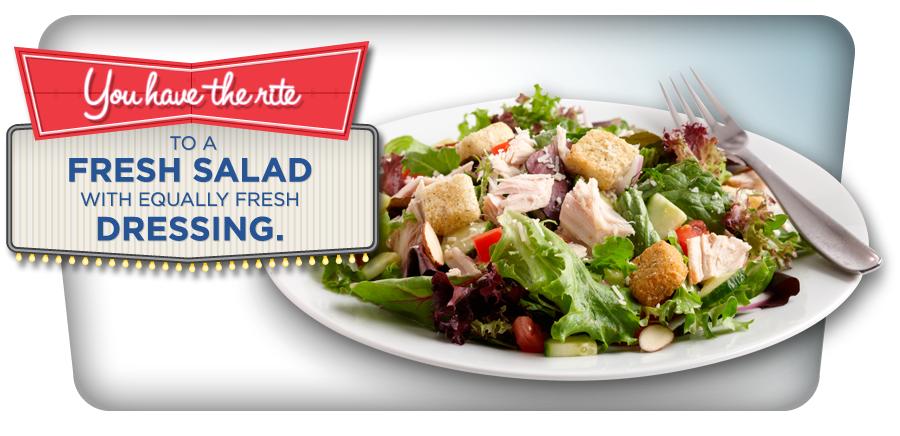 You have the rite to a fresh salad with equally fresh dressing.